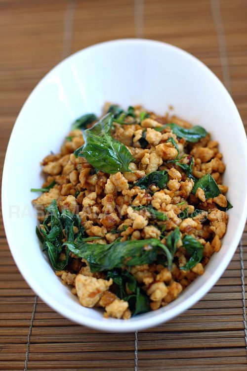Basil Chicken (Gai Pad Krapow) - chicken, garlic, shallots, sweet soy sauce, basil #Thai