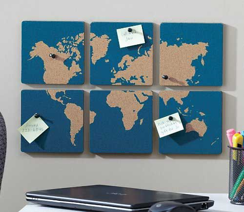 The World Map Cork Board Tiles are a unique gift for travelers and those who dream going to places that will decorate any home office, kitchen with style!