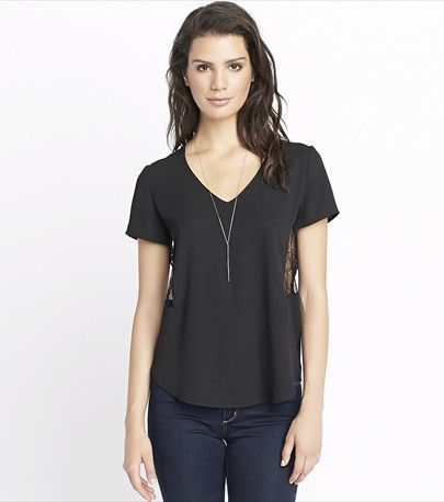 Tee With Lace Inserts