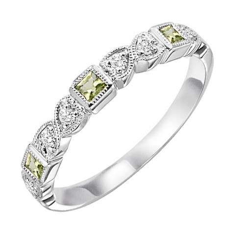 Birthstone for August - peridot and diamonds set in a beautiful band. A great choice for birthstone ring, mother's ring or stack together to create your unique style. Crafted in 14K gold, worn singly or in combination, our mixable rings, are a beautiful way of creating the stackable and lovable fashion look you desire