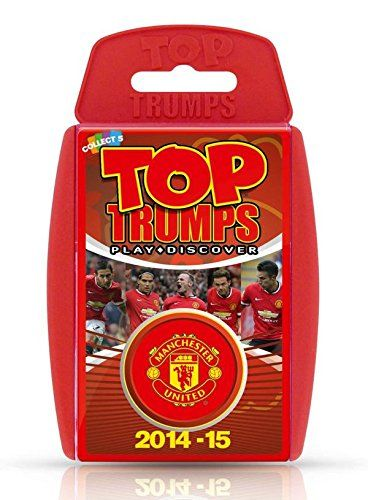 Top Trumps - Manchester United FC 2014-15 - Top Trumps - Manchester United FC 2014/15 Calling all Red Devils fans! You will love this pack of Manchester United Top Trumps featuring Britain's biggest and best club! Containing a bang up to date player roster for the 2014-15 season, featuring Di Maria and Blind, this is the ultimate football party game! Is Falcao better at attacking than Rooney? Is Fletcher the best defender and which player will be crowned the Top Trump! Safety
