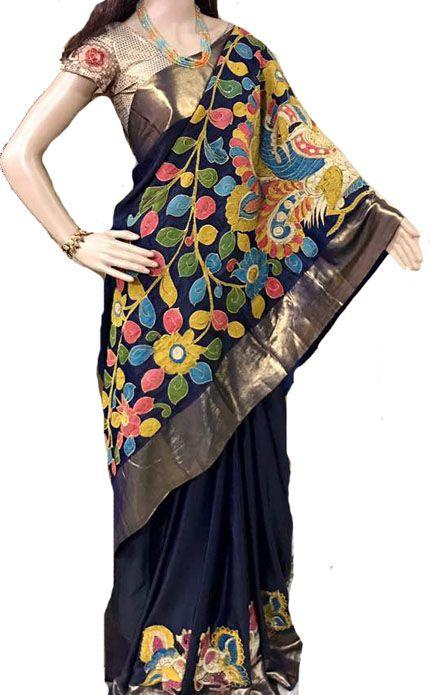 Blue Kalamkari Applique Work Pure Silk Saree