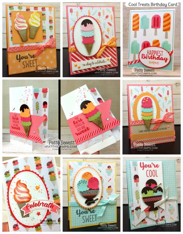 Stampin' UP! Cool Treats ice cream cone and sundae cards - retring stamp set May 2018.