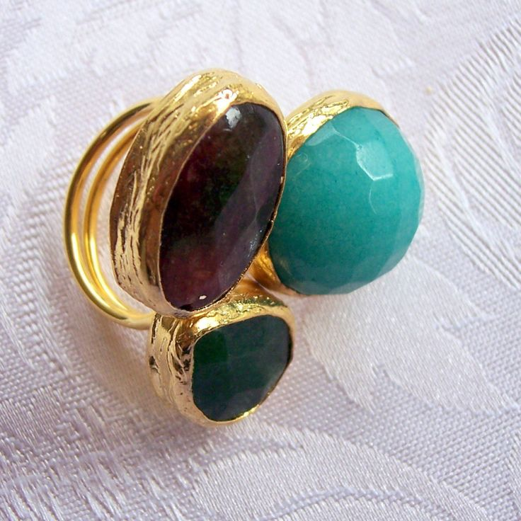 Handmade muticolour triple stone agate ring, with multishape stones gold plated semiprecious gemstone, jewelry and balance by GardenOfLinda on Etsy