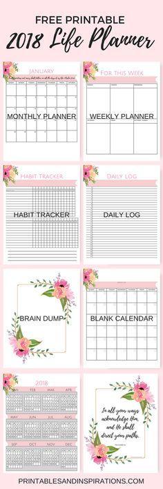 printable calendar free 2018, Free pink calendar, life planner, weekly planner, habit tracker, daily log, journal, brain dump, inspirational, floral