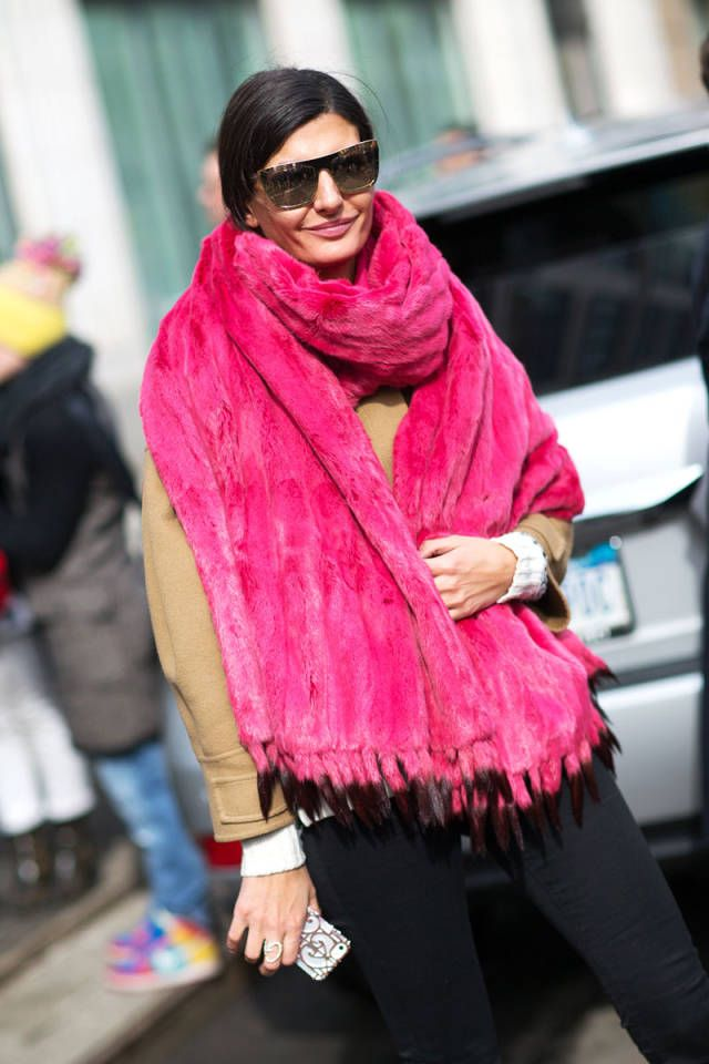 Pretty in pink: New York street style embraced the girly hue this season.