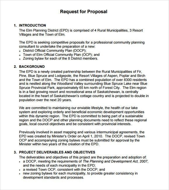 Rfp Template Proposal Templates Request For Proposal Free