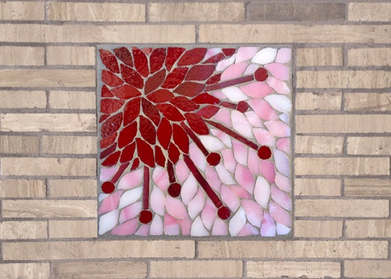 Cherry Blossom Bloom Mosaic Accent Piece by Dyanne Williams Mosaics on Etsy