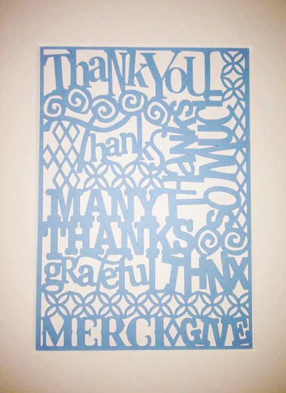 Teacher Gift Thank You Paper Cutout  Paper Art by RubyCanoeDesign, $12.00