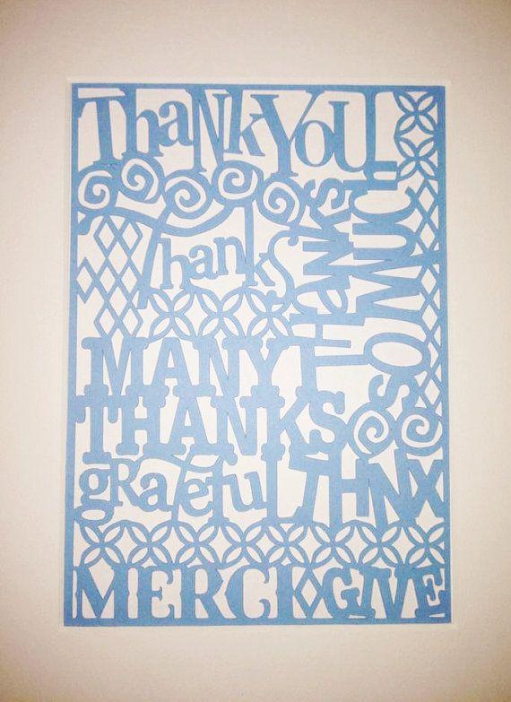 Teacher Gift Thank You Paper Cutout  Paper Art by RubyCanoeDesign, $12.00
