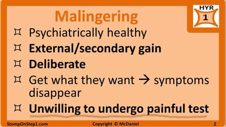 Malingering, Somatoform Disorder, Munchausen, Factitious Disorder Hypoch...