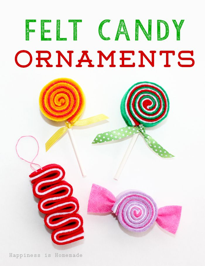 These sweet DIY felt candy ornaments are adorable! They only take a few minutes to make, and cost next to nothing! Great Christmas gift idea, too!
