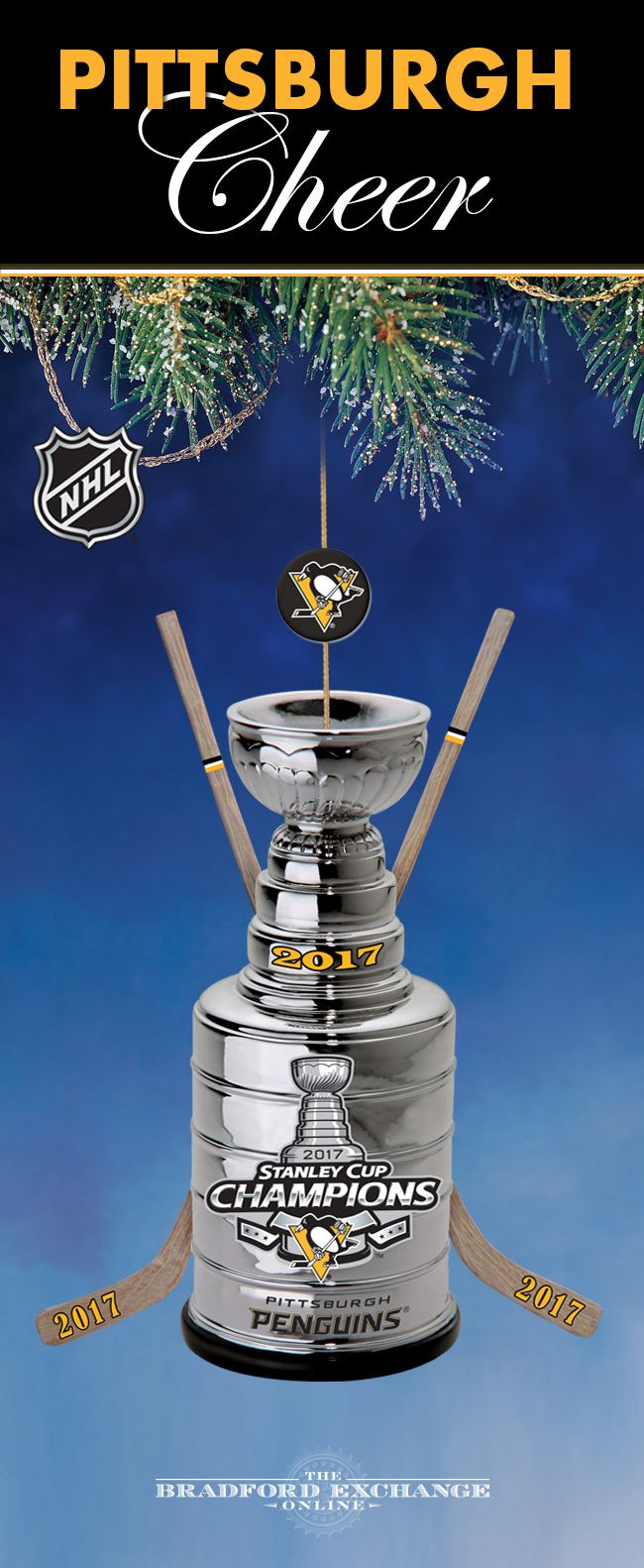 Add a festive touch to a winning season! Celebrate your Pittsburgh Penguins new title of 2017 Stanley Cup Champions for holidays to come with this commemorative Christmas ornament.