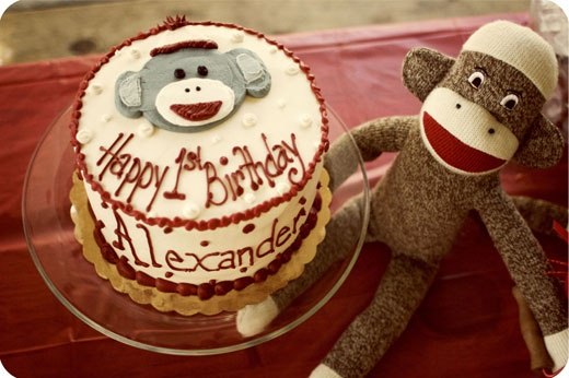 such a cute sock monkey birthday party! Love all of the food and paper products!