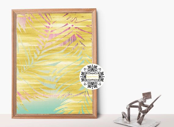 Beach Decor Beach Print Coastal Decor Beach House Decor Beach Art Gold Print Palm Leaves Print Palm Leaves Art Wall Art Palm Leaf Print