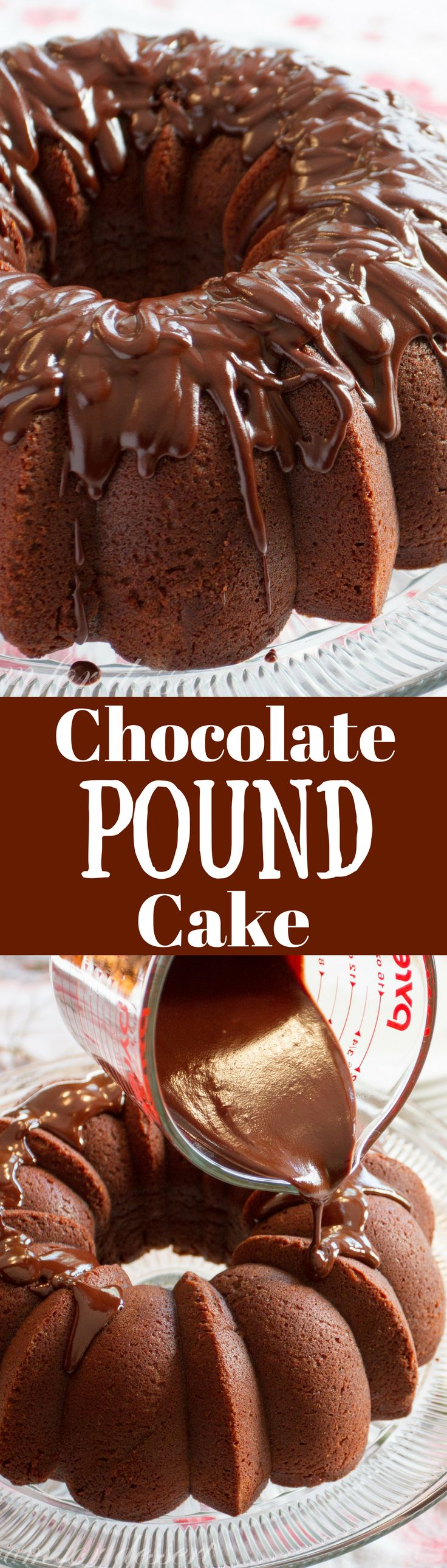 Chocolate Pound Cake ~ rich and decadent, this easy to make dessert is topped with a silky smooth chocolate glaze - perfect for the chocoholic in your life!  www.savingdessert.com