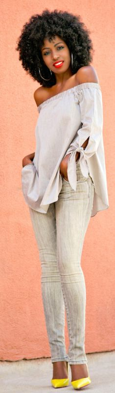 Off Shoulder Tunic + Zippered Jeans / Fashion Look by Style Pantry