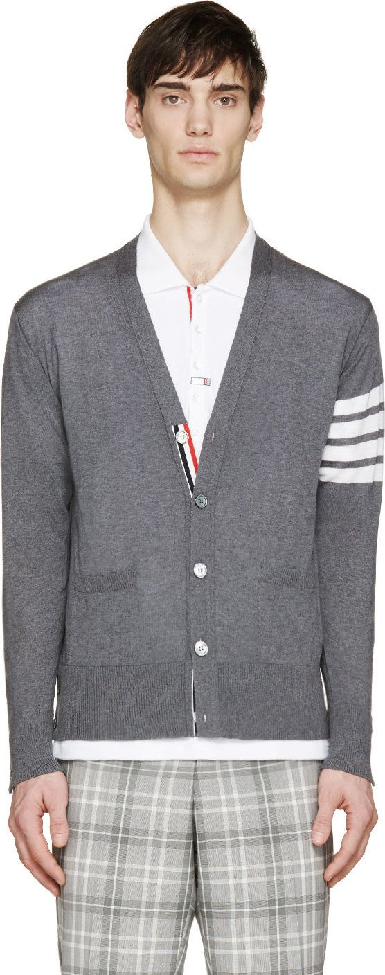 Thom Browne Grey Wool Signature Stripes Cardigan