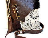 PRE-ORDER Boho Leather Messenger Bag with Crochet Doily and Antique Key - Medium One Of A Kind