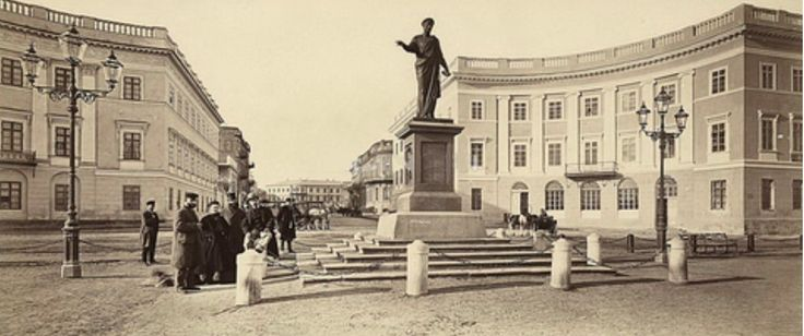 Odessa Old Town. Duc de Richelieu statue on top of the Potemkin Steps