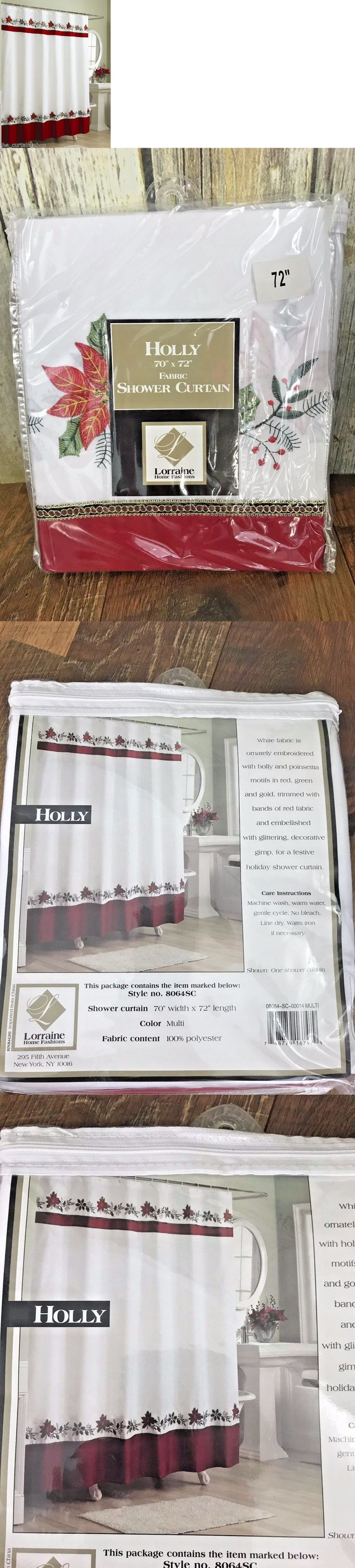 Christmas shower curtains on ebay - Shower Curtains 20441 New Lorraine Home Fashions Holly Shower Curtain 70 By 72 Christmas Holiday