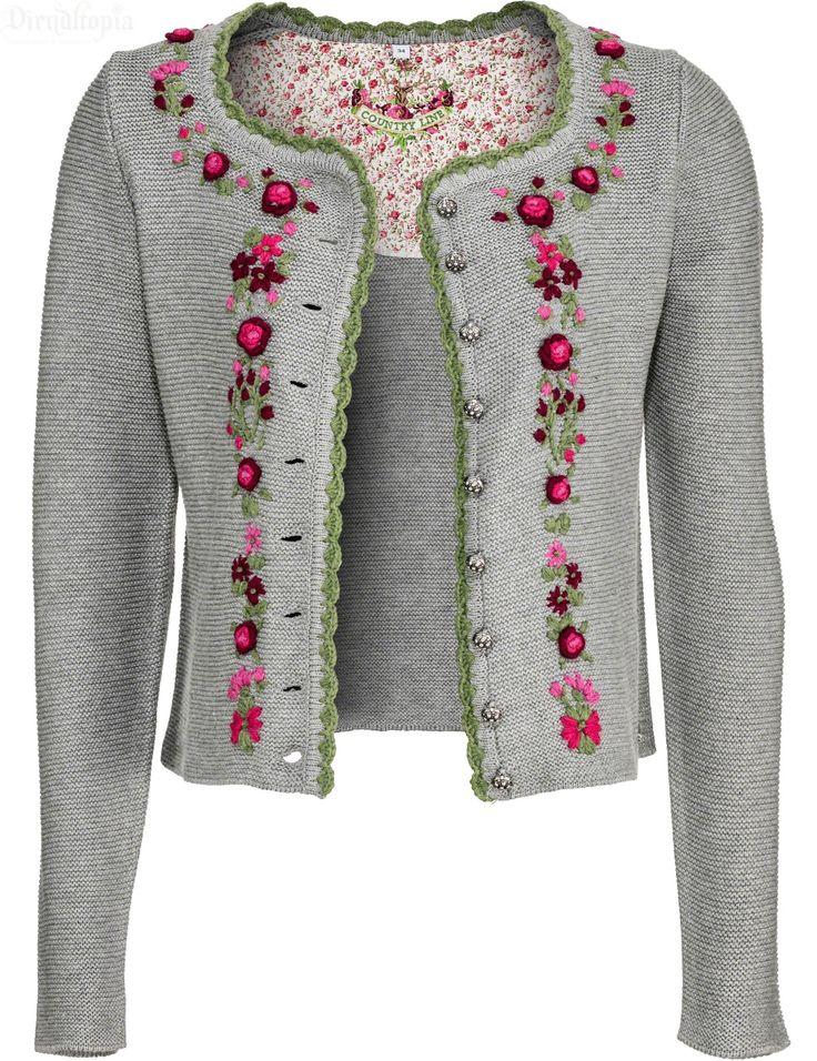 Trachtenjacke für Damen, grau - Strickjacke Angelina   Dirndltopia