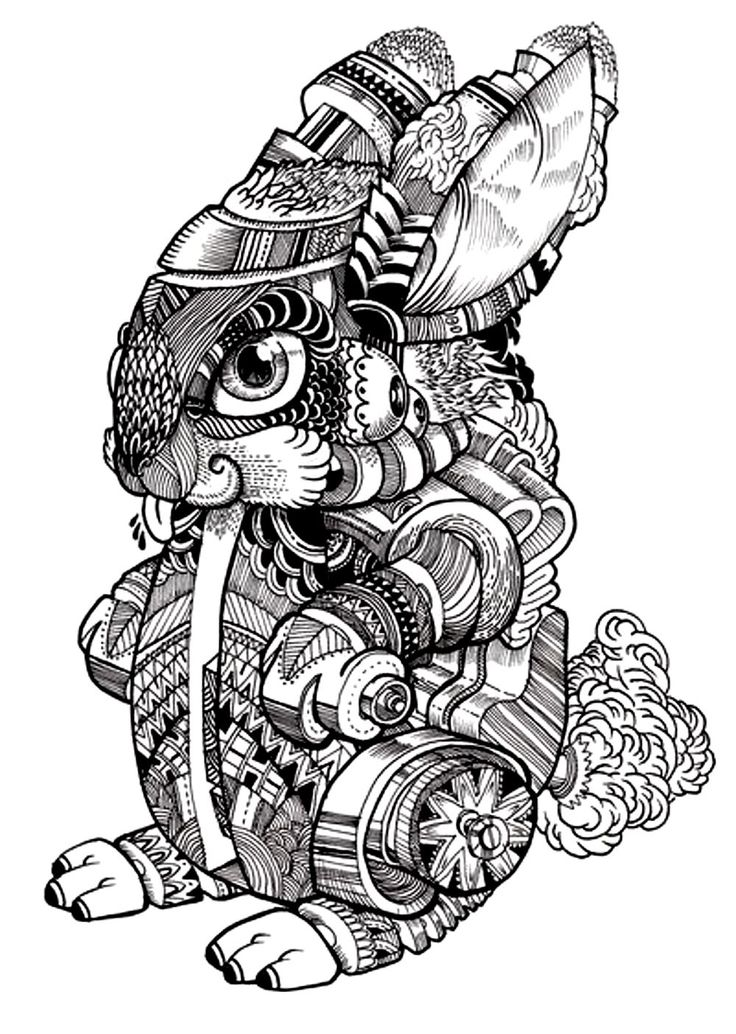 Free coloring page coloring-adult-difficult-rabbit-2. Drawing of a rabbit with strange but beautiful patterns