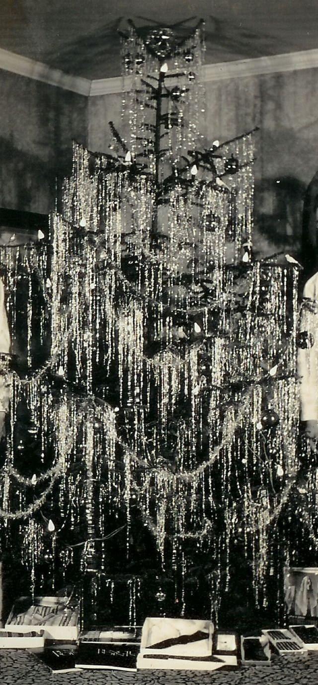 1940 real silver tinselled Christmas tree
