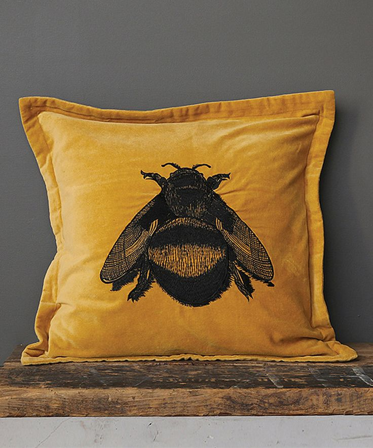 Look at this Yellow & Black Velvet Embroidered Bee Pillow on #zulily today!