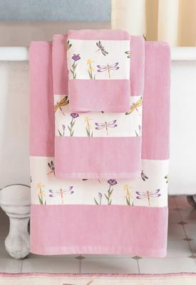 Pink Dragonfly Bath Towels Buy some fancy pink bath towels like these for our bathroom.