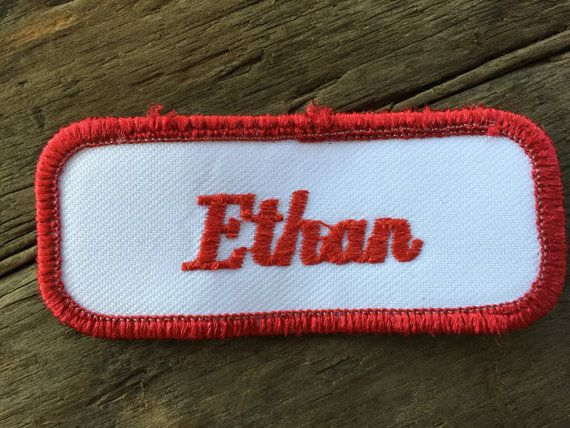 Someone named Ethan wore a shirt to work that had this patch on it.  Work shirt name patches are about 3 inches wide by about 1 and 1/2 inches tall. All of our work shirt name patches are reclaimed from old work shirts and will have varying amounts of wear. Please check the photo.  HOW TO GET THIS WORK SHIRT NAME PATCH FOR FREE Buy any work shirt from our Work Shirts and Jackets section and well give you any name patch for free. Well iron on your name patch before shipping. If youd rathe...