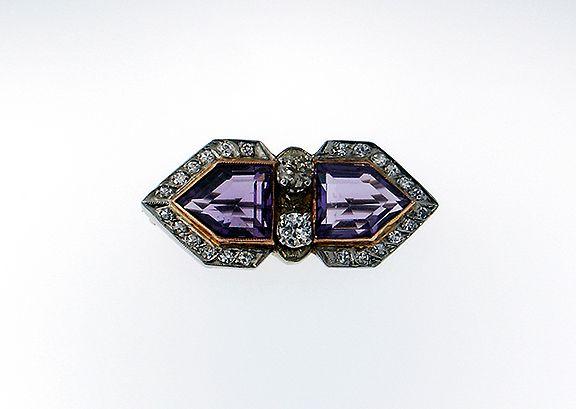 Vintage Art Deco Brooch 18k with amethyst and diamond $800.00