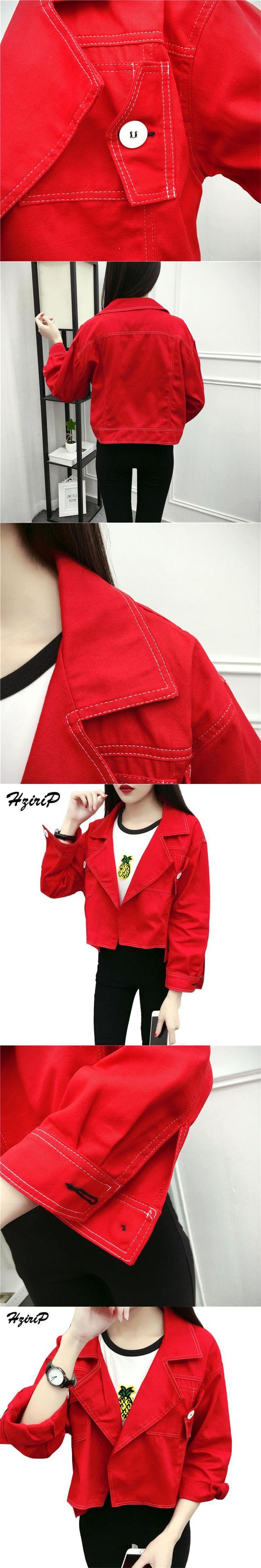 Hzirip Jacket Women Short Jeans Overcoat Ladies Jackets Tops Turn Down Collar Slim Red Denim Cardigan Top For Women High Quality