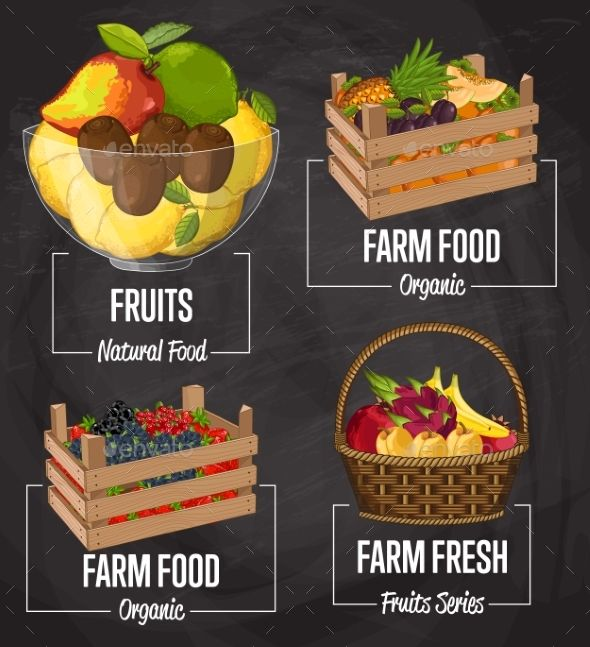 Organic Farm Fruit Concept Set by studioworkstock Organic farm fruit set vector illustration. Natural sweet fruit, organic farming, vegan food store, retail farm product label. Hea