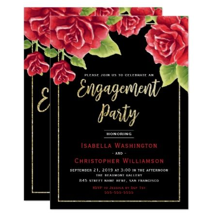 Red Roses Black & Gold Glitter Engagement Party Card - tap to personalize and get yours