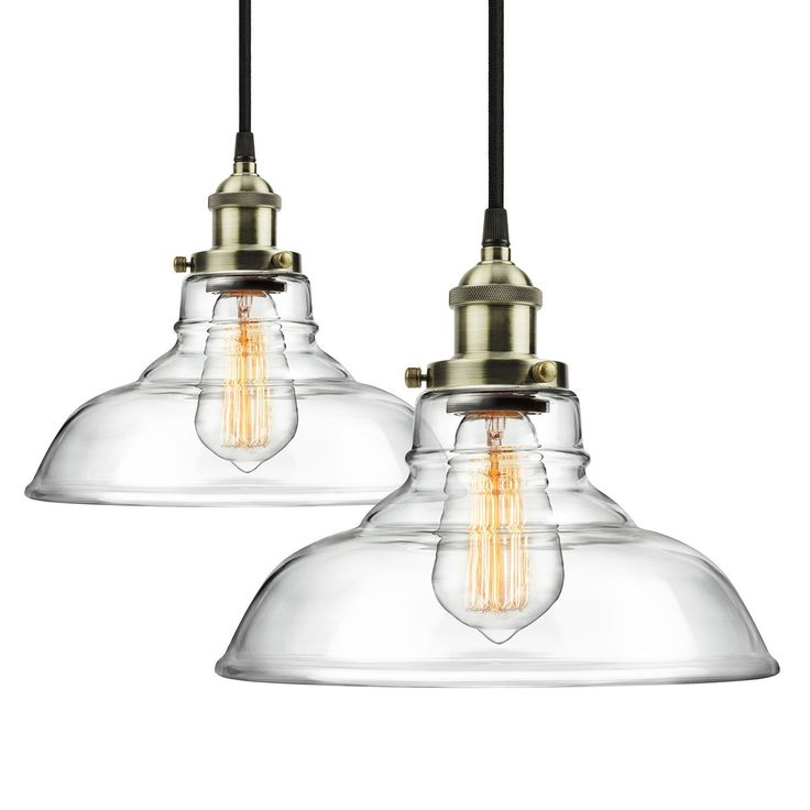 2 pack pendant light hanging glass ceiling mounted chandelier fixture shine hai modern industrial