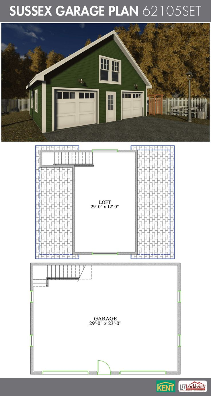 Sussex Garage Plan 30u0027 x 24u0027 2 car