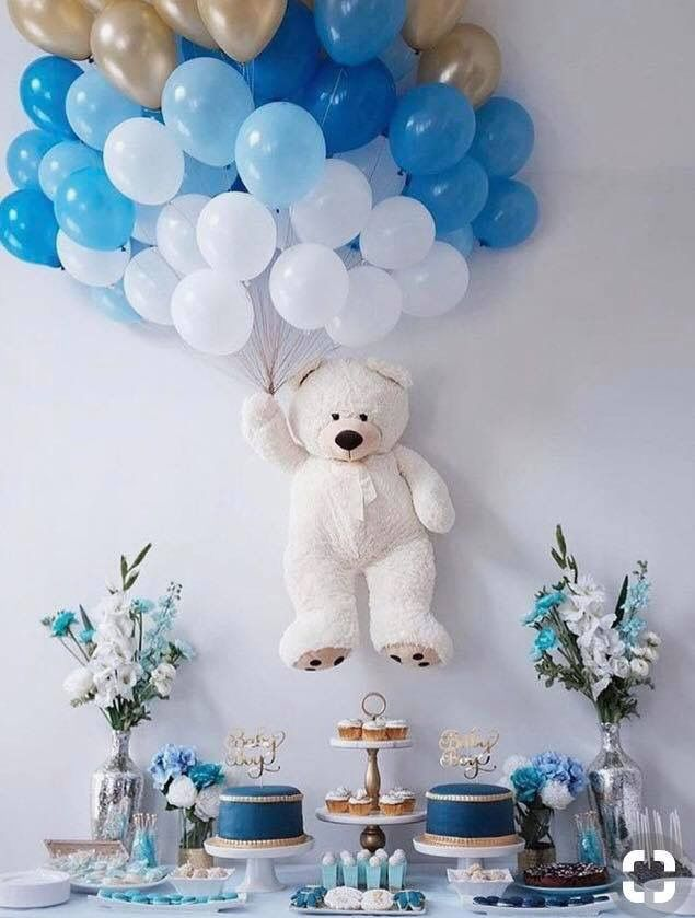 Flying Teddy Bear With Balloons Baby Shower Wall Decor