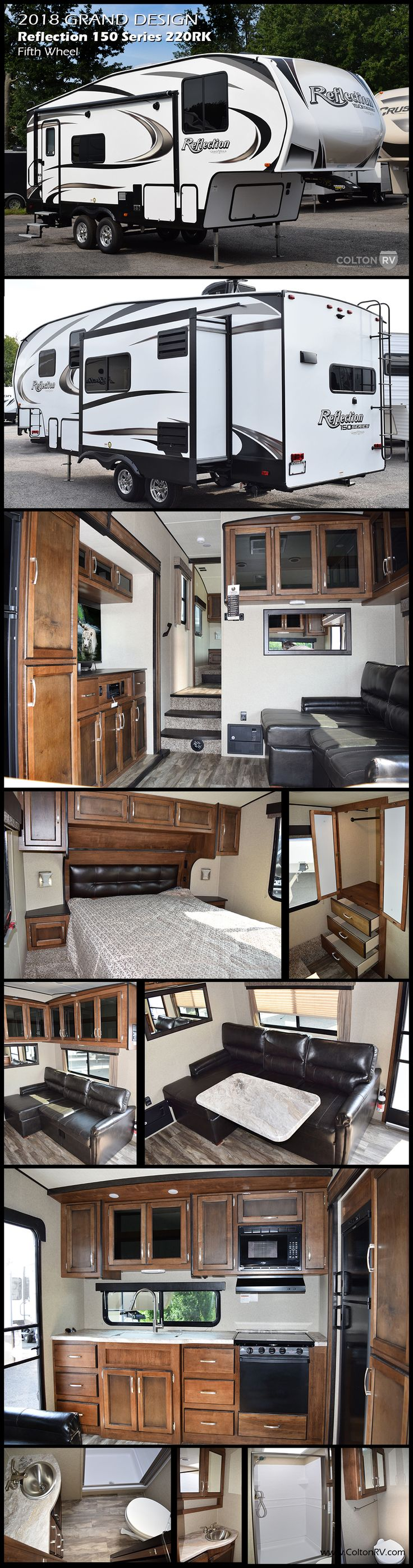 The Reflection 150 Series 220RK Fifth Wheel by Grand Design delivers maximum living without maxing out your truck. The towability, spacious interior, and luxury features of the 220RK model are redefining what it means to be half-ton towable.