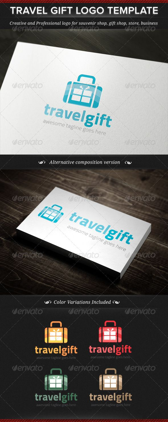 Travel Gift Logo Template — Vector EPS #souvenir #store • Available here → https://graphicriver.net/item/travel-gift-logo-template/4835094?ref=pxcr