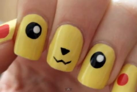 perfect pikachu nails! screaming.
