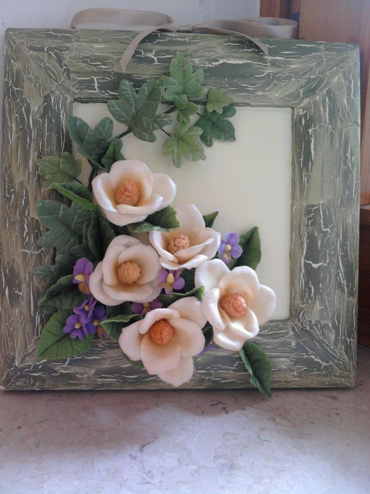 ceramic frame and cold porcelain flowers