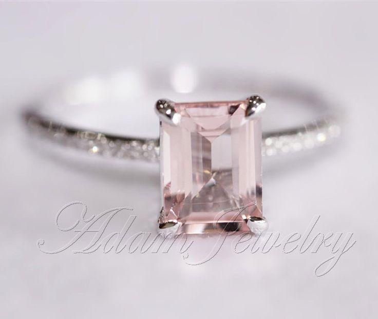 Pink Emerald Cut VS Morganite Ring SI/H Diamonds by AdamJewelry, $365.00