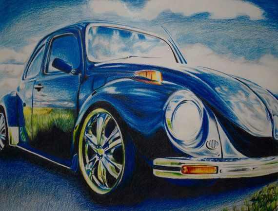 Colored Pencil Drawing of Blue VW Bug by jessiemelrose on Etsy, $400.00