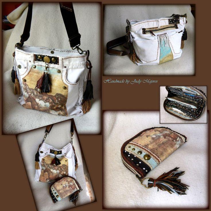 Handmade by Judy Majoros - White denim fringe polka dots hobo bag. Recycled bag.