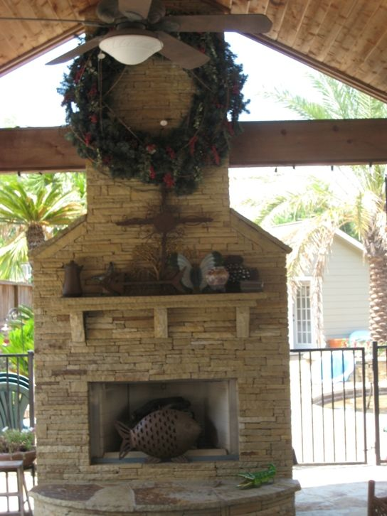 Ledgestone Outdoor Fireplace In The Heights Area Of