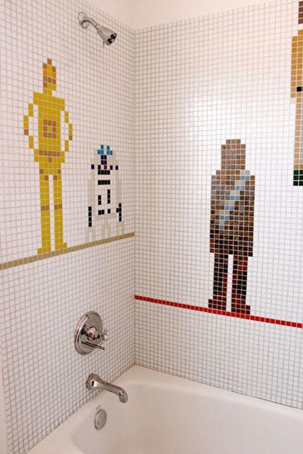 Star Wars bathroom!: Boys Bathroom, Kids Bathroom, Star Wars, Shower Tile, Stars War Bathroom, House, War Shower, Starswar, Starwars