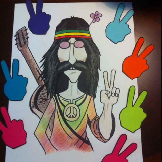 """pin the peace sign on ye hippie"" I made for ava's hippie birthday party : P pinterest/ashcrash007"