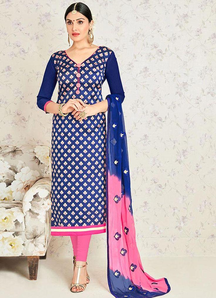 Precious Banarasi Silk Lace Work Churidar Suit