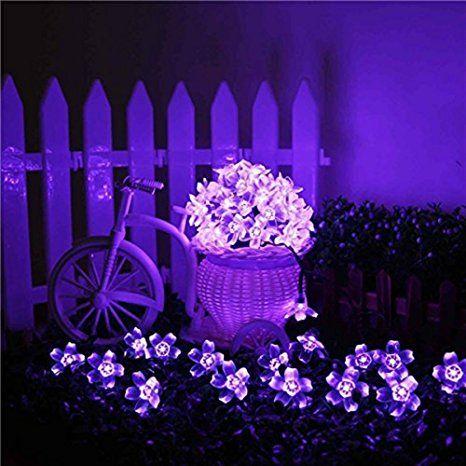 Kyson 50er Led Solar Lichterkette Blumen Garten Außen Lila 5 Meter